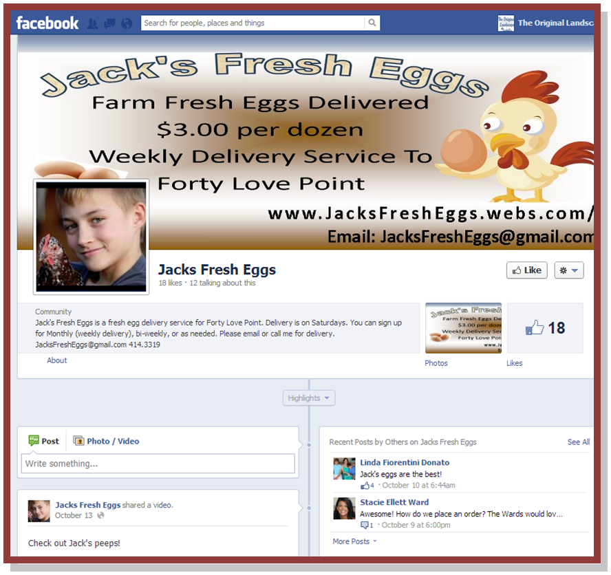 Jacks Fresh Egg Facebook Page
