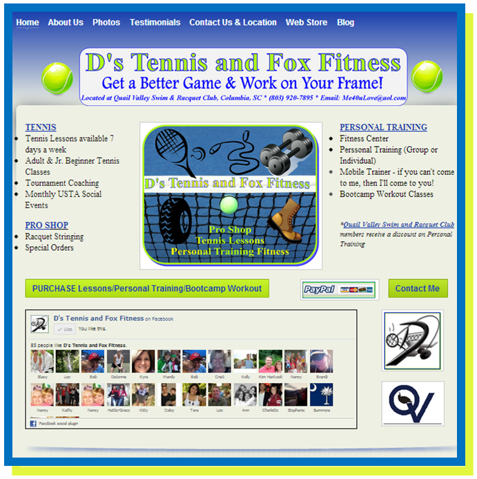 D's Tennis and Fox Fitness Website